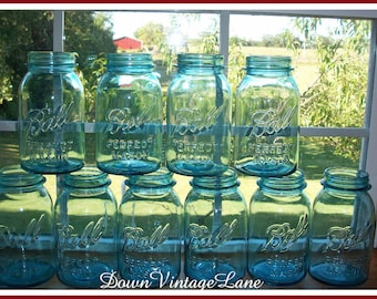 10 Blue Ball Perfect Mason Canning Jars Quart Size Vintage Blue Jars