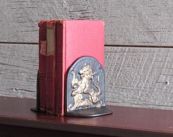 vintage bookends - Lions - home decor - cast iron