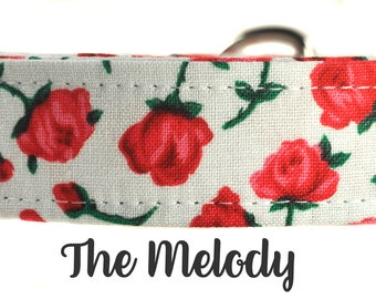 Pink and Green Floral Dog Collar - The Melody