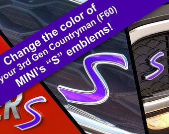 Scuttle, Grill, and Rear Emblem S Decal Replacements for MINI Cooper S 3rd Gen Countryman F60