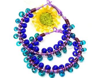 Seed Bead Hoop Earrings - Blue Teal Hoop Earrings - Beach Earrings- Gift for Her - Boho Bead Earrings - Her Birthday Gift - ChristalDreamz