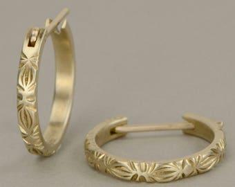 Gold huggie earring in 10K yellow gold Engraved huggie earring delicate dainty simple everyday huggie earrings