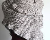 Light Gray Beige Color Texture Acrylic Yarn Ruffled Chunky Wrap Shawl Stole