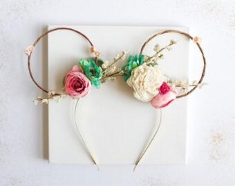 Minnie Mouse floral ears. Minnie ears. Floral headband. Mouse ears. Bear ears. Cub ears.