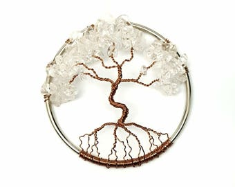 Clear Quartz Gemstone Tree of Life/  Window or Wall Ornament/  Gift Idea for Her/ Housewarming Gift/ April Birthstone/ April Birthday Gift
