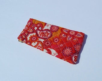 Eye Glass Case, Quilted Cotton Case, Flex Frame Case, Orange and Gold Floral