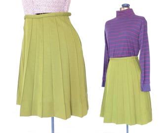 60s Mini Skirt * Mod Schoolgirl Skirt * Chartreuse Green Skirt * Wool Skirt *  XS