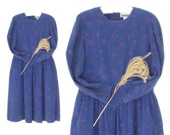Vintage Corduroy Dress * 80s Midi Dress * Sweetheart Dress * XL