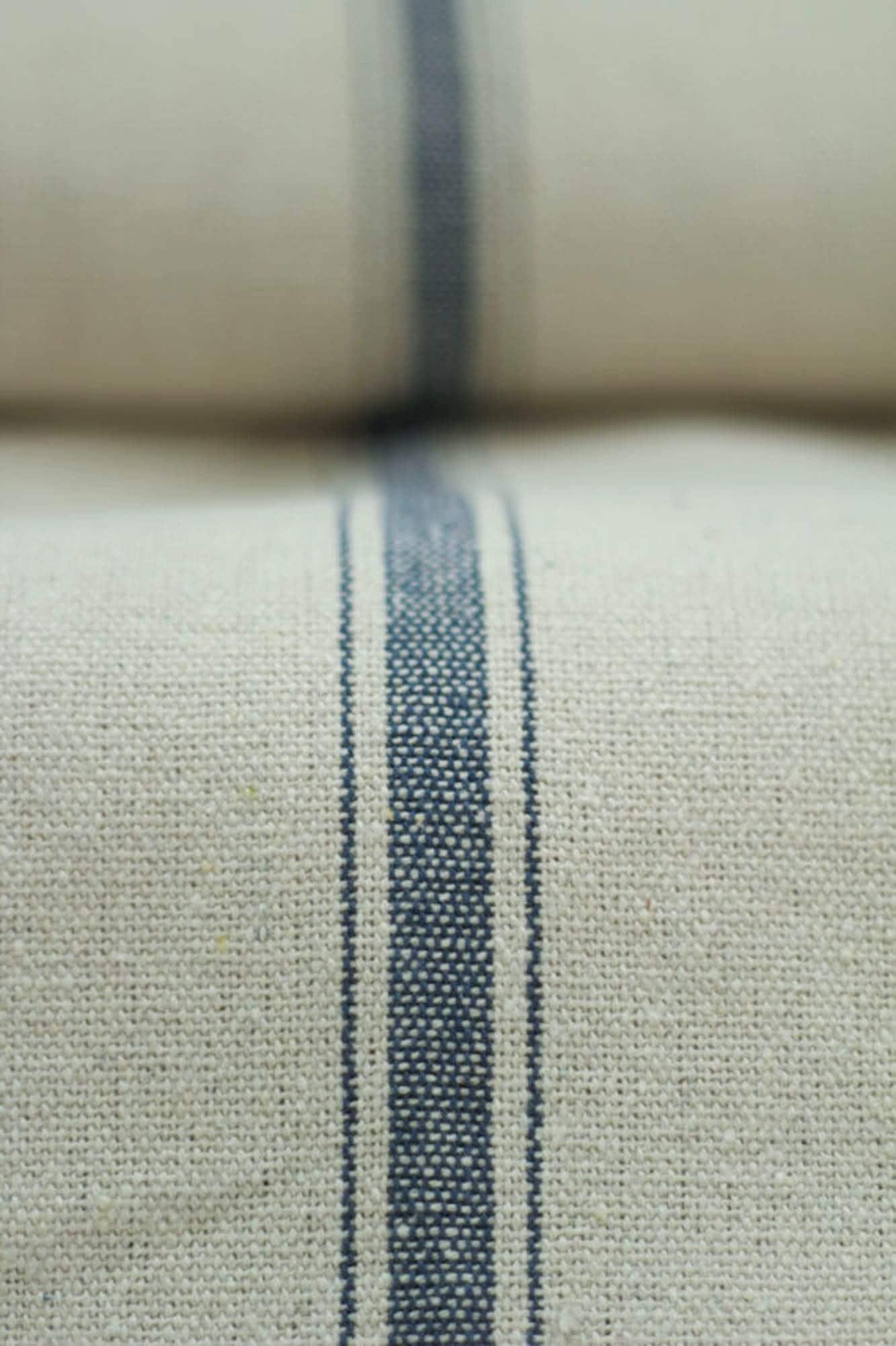 Grain Sack Fabric By The Yard Three Stripe Blue