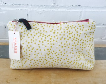Golden Rod Polka Dot Make Up zipper bag, Ready To Ship Now
