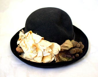 Victorian Revival Black Bowler Hat with Flowers