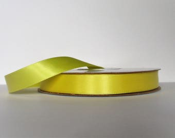 Lemon Yellow Double Faced 5/8 inch Satin Ribbon 5 yard length Offray Made in USA