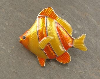 Vintage M Jent enamel on metal fish brooch pin MJ Tropical Fish Brooch or Pendant, Orange and Yellow Fish Brooch
