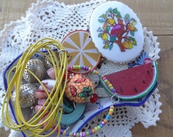 Vintage Jewelry Lot - Shabby Chic  - Lot - Partridge Pear Tree Brooch - Hallmark - Yellow Loops - Disco Earrings - Charms - DD7
