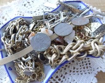 Vintage Jewelry Lot - Chain Destash - Metal Chain - Links from vintage necklaces - Vintage Chain - Long - D239