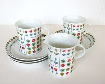 Cups, saucers and creamer by Rosenthal. Continental, Piemonte cups, Piemonte creamer, Emilio Pucci, retro cups, mid century dishes, floral