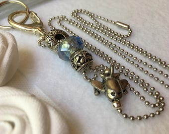 Light Blue Airplane Lanyard Ball Chain ID Badge with Silver Pandora style beads