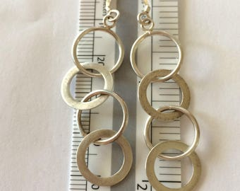 Long Multiple Circles Drop Earrings - Vintage -  Ready to ship