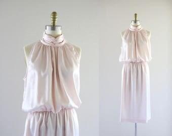 blush satin halter dress / m