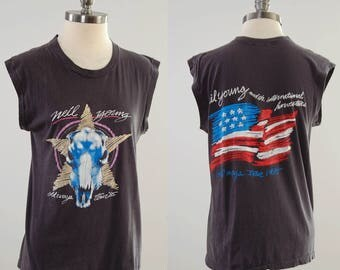 Vintage 80s NEIL YOUNG concert t shirt / Neil Young and the International Harvesters / Old Ways Tour 1985 / Screen Stars size large