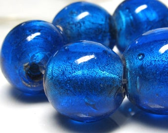 Lampwork Beads 15mm Large Hand Blown Smooth Caribbean Blue Large Hole Rounds - 10 pieces