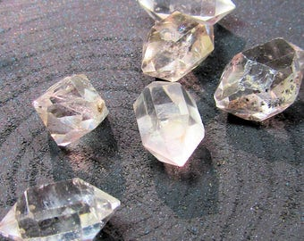 Herkimer Diamond Quartz Rough Natural Double Terminated Clear Non Drilled Spears  18 X 10mm - 3 Pieces