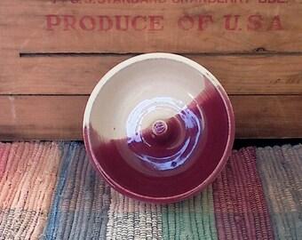 Red and rustic white handmade pottery apple baker- mini ceramic baker - dessert ideas - pottery small fruit baker - crisp fall apple 1120AB2