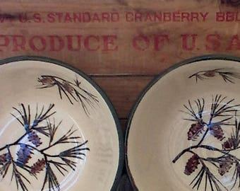 Medium size handmade pottery bowls - set of 2 - Handmade ceramic serving bowls - Rustic Pottery Bowls in Pinecone - nesting bowls - 602