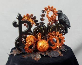 Beware Centerpiece, Halloween Decoration, Black and Orange Decoration, Halloween Table Decoration, Halloween Raven, Beware Sign