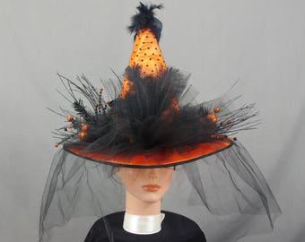 Polka Dot Orange Witch Hat, Black Witch Hat, Decorated Witch Hat, Classic Witch Hat, Witch Costume, Costume Hat, Halloween Costume