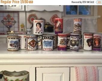 ON SALE Miniature Food Cans, Set of 24, Larder Tins, Dollhouse Miniature, 1:12 Scale, Dollhouse Food, Pantry Cupboard Cans, Miniature Food C
