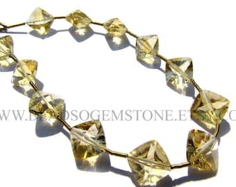 Semiprecious Beads, Citrine Concave Cut Cushion (St. Drill) (Quality AA) / 10 to 12 mm / 18 cm / CI-073