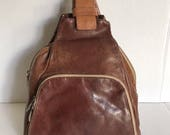 Vintage Joanel Brown Leather Convertible Backpack Purse