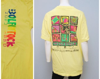 "Vintage 1990 NCSU North Carolina State University IRC ""Wolfstock"" T-Shirt Tee Shirt Yellow Neon Tshirt Size XL Bragaw Hall Wolfpack"
