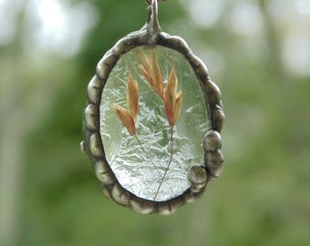 Pressed flower jewelry, fern necklace, botanical necklace, ooak, flower terrarium necklace, real plant jewelry, nature inspired