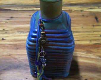 Hand painted multi colored boho chic ribbed bottle vase