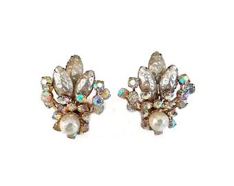 Vintage Pearl Rhinestone Earrings - Aurora Borealis, Rhinestone Cluster, Faux Pearl, Art Glass, Bridal Bride Wedding Jewelry