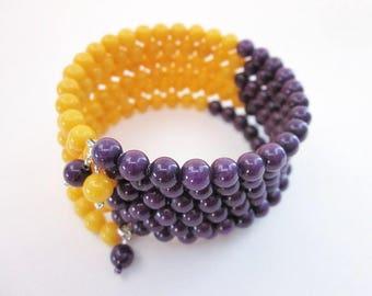 Purple & Yellow Jewelry -- Purple Gold Bead Bracelet -- NFL Jewelry -- Large Team Jewelry -- Team Spirit Bracelet --Football Spirit Bracelet