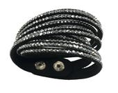 NEW!!! Black w/silver rhinestone Double Wrap Bracelets with Snap Buttons Rhinestone Adjustable Snaps on Vegan Suede