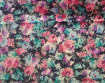 Blue Floral Fabric Yardage