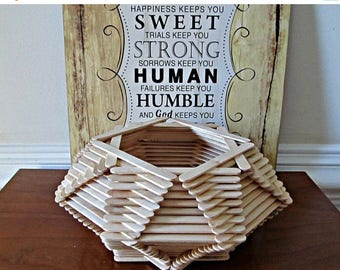 ON SALE Popsicle Stick Bowl - Octagon Shaped Bowl - Natural Wood