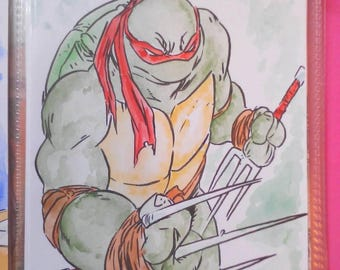 Raphael teenage mutant ninja turtle watercolour illustration by boo rudetoons comic art tmnt