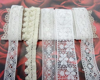 Old Vintage Lace Trims Edgings Lot Sampler Variety Mix Little Projects Doll Clothes Embellishments Decorations