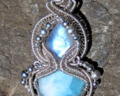 Twin Flame///Moonstone, Larimar, and Sterling Silver Wire Wrap Goddess Pendent, Handmade, One of a Kind, Art