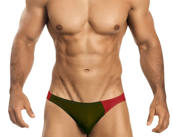 Olive & Red Asymmetrical Swim Bikini for Men by Vuthy Sim    10-5