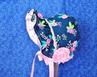 Navy Blue Baby Bonnet with Flowers Reversible