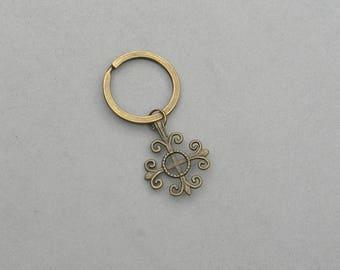 Antique Brass Cross Key ring