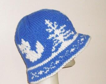 Cute Fox Hat for Women Hat Blue White Knit Fox Hat Womens Gift