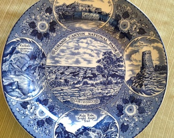 Vintage Grand Canyon Souvenir Plate National Park Arizona Blue Staffordshire  Transfer Ware Collector Plate Fred Harvey Tag