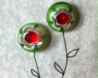Millefiori oorstekers met unieke illustratie!